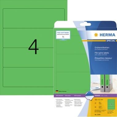 HERMA Ordneretikett 5099 192x61mm sk grün 80 St./Pack.