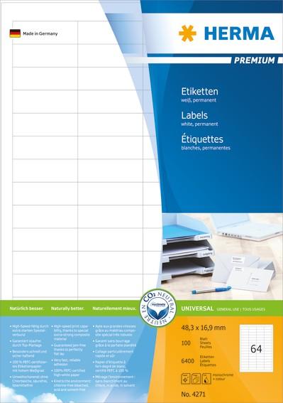 HERMA 4271 Etiketten Premium A4 48,3x16,9 mm weiß Papier matt 6400 St.