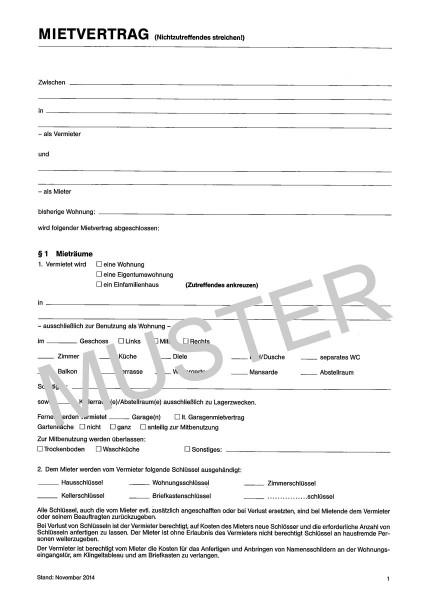 Buschmann Mietvertrag, DIN A4 - Front