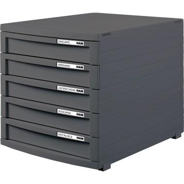 HAN Schubladenbox CONTUR 1505-191 DIN A4/B4/C4 5Schübe geschl dgr/dgr
