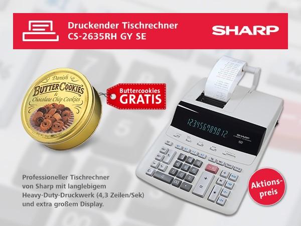 Sharp Tischrechner CS-2635RH-GYSE mit gratis Buttercookies